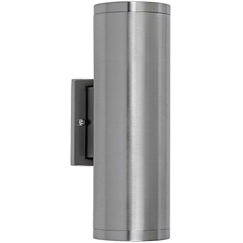 """Dual Upward and Downward Outdoor Modern Cylindrical LED Wall Light   12"""" Brushed Nickel Finish Waterproof Exterior Integrated Lighting 3000K with No Bulbs Required"""