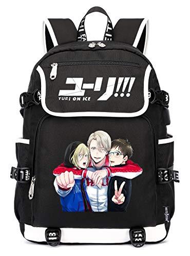 YOYOSHome Anime Yuri on Ice Mochila Cosplay Bookbag Daypack Bolsa de Hombro Bolsa de Escuela con Puerto de Carga USB