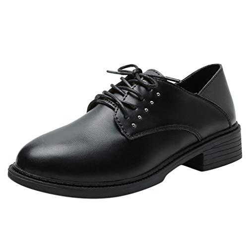 WHSHINE Damen Mädchen Derby Schuhe Klassische Schnürschuhe aus Leder mit niedrigem Absatz, Comfort Work School