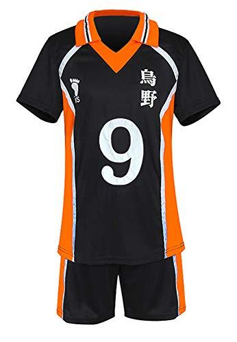 QYIFIRST Anime Karasuno Koukou High School Kageyama Tobio Tenue de Sport Manches Courtes Sportswear Suit #9 Costume Cosplay Noir L