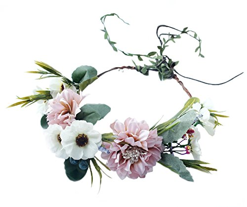 Floral Crown Wreath Flower Garland Headband Hair Wreath Hair Garland Flower Halo Floral Headpiece Boho with Ribbon Wedding Party Festival Pink, One Size