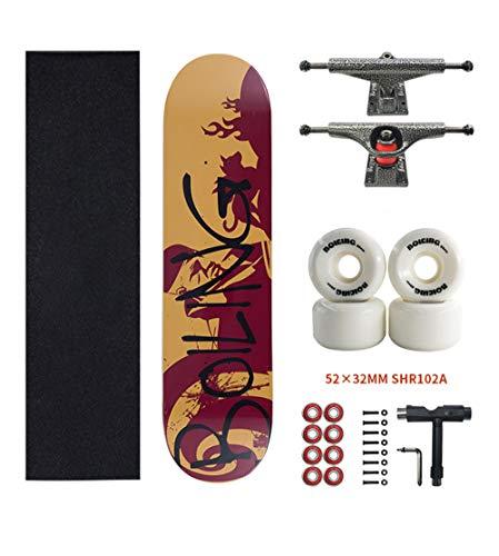 SHENHAI Skateboard per Principianti, Skateboard a Quattro Ruote per Giovani a Bordo Doppio
