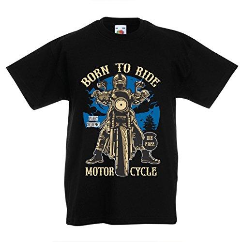 Camiseta Niños/Niñas Live Young - Die Free - Nacido para Montar en Moto, Ideas de Regalos para Ciclistas, Lemas inspiradores (3-4 Years Negro Multicolor)