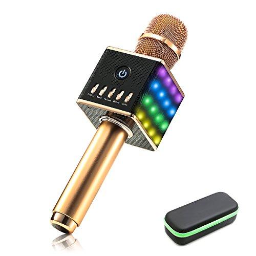 Portátil inalámbrico Karaoke Micrófono, nasum Micrófono con altavoz de Bluetooth para la grabación de voz y lengua, como altavoz para PC, Laptop, iPhone, iPad, Android Smartphones y a oro rosa