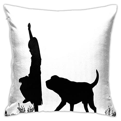 qidong Funda de cojín con silueta decorativa de niña con perro en el parque, pasear por el cuidado de los animales, funda de cojín para el hogar, sofá o dormitorio, 18 '18