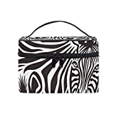 Bolsas de cosméticos Cosmetic Bag with Zipper Single Layer Zebra Print Abstract Animal Pattern Travel Storage Bag Portable Makeup Pouch Bag Organizer Case for Women Unique
