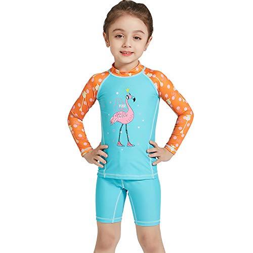 HWZZ Traje de neopreno de cuerpo completo para niños y niñas, traje de baño de verano de secado rápido, de manga larga, traje de buceo para niños pequeños y jóvenes, azul, M