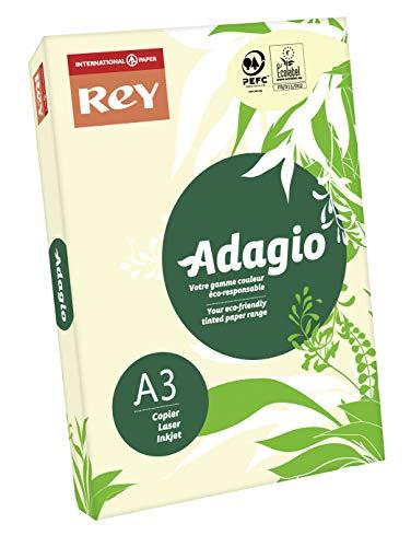 Papyrus Agadio – Risma da 500 fogli di Carta Colorata per stampante laser/getto d'inchiostro/copiatrice 80 g Formato A3 avorio
