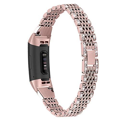 XIALEY Correas Compatible con Fitbit Charge 3 / Charge 4, Brazalete De Repuesto Correas Mujer Joyas con Diamantes De Imitación Banda Bling Glitter Pulsera De Metal para Charge 3 / Charge 4,Rose Pink