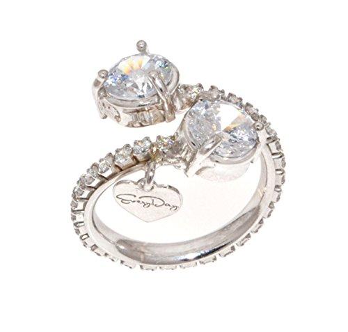 EveryDayGioielli Bague femme en argent 925 rhodié, modèle contrarié avec pierres rondes de 7 mm et pierres Swarovski, taille ajustable