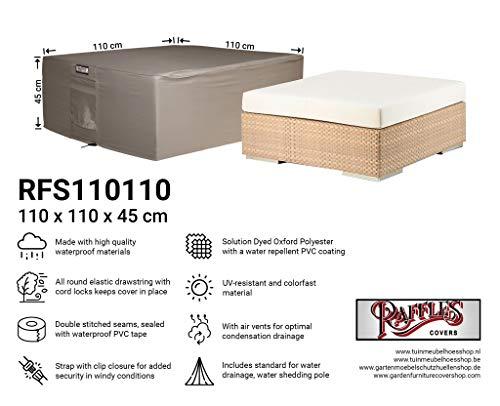 Raffles Covers NW-RFS110110 Hoes voor lage tuintafel 110 x 110 H: 45 cm Beschermhoes voor poef, Tuinvoetenbankafdekking, Buitenhoes voor een hocker