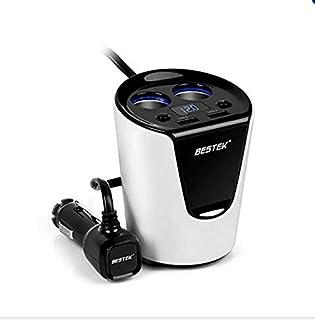 BESTEK 2-Socket Cigarette Lighter Power Adapter DC Outlet Splitter 3.1A Dual USB Car Charger - White