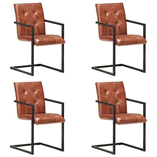 vidaXL 4X Freischwinger Esszimmerstuhl Schwingstuhl Stuhl Set Stühle Essstuhl Küchenstuhl Polsterstuhl Wohnzimmerstuhl Braun Echtleder