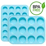 Silicone Mini and Large Egg, Muffin and Cupcake Pan 12 24 Tin Cup - BPA Free Non Stick Muffin Pan -...