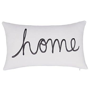 DecorHouzz Home Sentiment Pillow Cover Embroidered Pillow Cases Throw Pillow Decorative Pillow Wedding Birthday Anniversary Gift 14 x24  (Ivory)