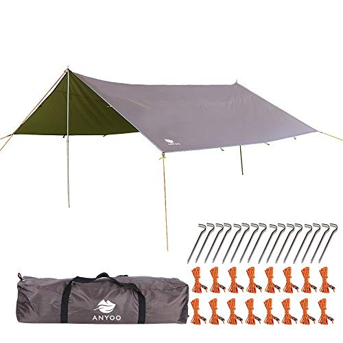 Anyoo Ripstop Rain Tarp Beach Tent Hamaca Fly Sunshade Ligero Impermeable Shelter para Acampar Senderismo Backpacking