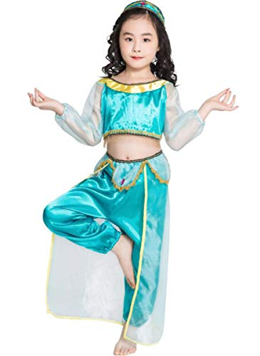 Aishangyide Mädchen Prinzessin Jasmin Aladdin Verkleiden Kostüm Fasching Outfits Sets Stirnband Crop Top Bauchfrei + Hosen Tüll Kleid Bauchtänzerin mit Pailletten für Cosplay Party Halloween Karneval