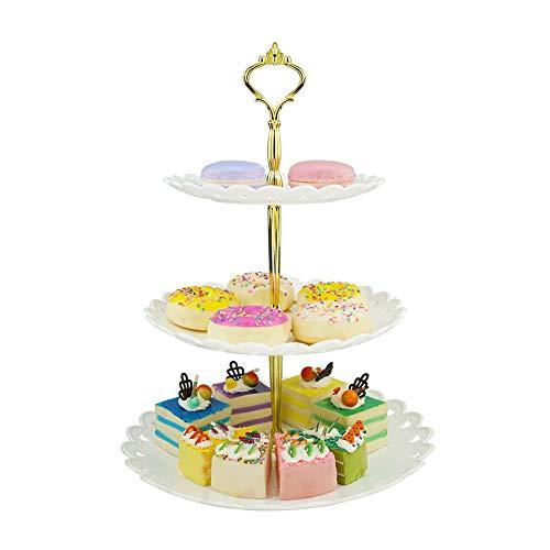 Hetoco 3 Pisos Blanco Dorado Bandeja de Tartas Torre de Postres Soporte para Tartas Cupcakes Food Dessert al Pomeriggio Tea Party Compleanno