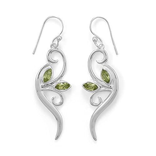 Pendientes de plata de ley 925, hoja de peridoto y rama, hojas en alambre francés, 4 mm x 8 mm, joyería regalo para mujer