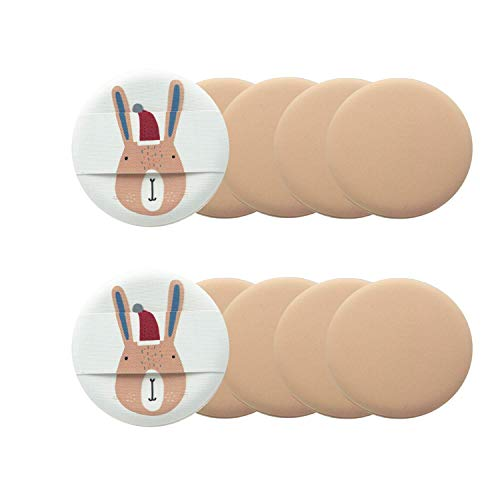 コスメ 湿式パフ メイクスポンジ PUFF 詰め替え用 パフ・スポンジ エアパフ(10枚セット) (うさぎ模様)