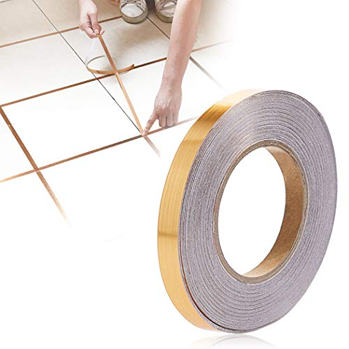 Outgeek 50m Home Tile Sticker Waterproof Gap Sealing Tape Strip Adhesive Tile Decoration Floor Tape for Floor and Wall(1cm x 50m, Gold)