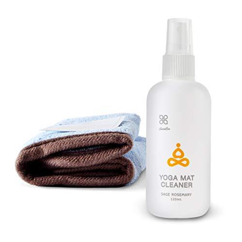 OKIEOKIE Limpiador de esterillas de yoga 100% natural, seguro para todas las alfombrillas, sin residuos pegajosos o pegajosos – Limpia, restaura, refresca + toalla de limpieza de microfibra in