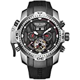 Reef Tiger Men's Sport Watches Stainless Steel Case Rubber Strap Military Watches RGA3532 (RGA3532-YBBO)