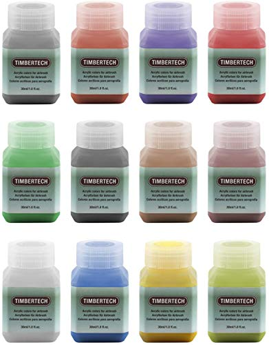 TIMBERTECH Acrylic Paints Airbrush Colors 12 * 30ml Model Air Base Multicolour PaintsSet Airbrush...