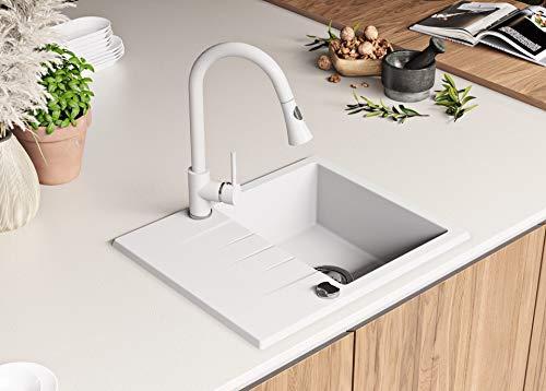 Granitspüle mit Siphon Mailand Einbauspüle Spülbecken Weiß Küchenspüle Unterschrank Küche ab 45cm Spüle aus Granit mit Ablaufgarnitur Drehexcenter und Überlauf von Primagran