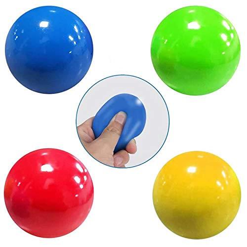 YANSHG® 4 Pcs Stick Wandball Dekompression Ball Catch Throw Ball Dekompression Spielzeug 6CM-Zufällige Farbe