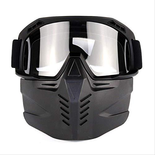 Nissary Motorrad Maske Abnehmbare Brille Mit Verstellbaren Rutschfesten Riemen, Skifahren, Reiten, Outdoor-Sportarten Sub-Blackbox Und Transparente Folie