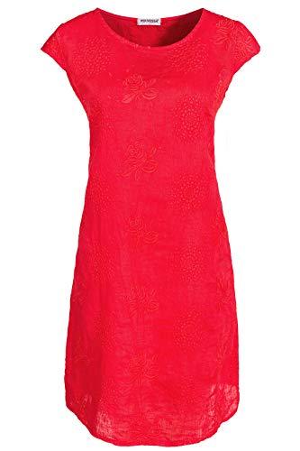 PEKIVESSA Damen Leinenkleid Stickerei Sommerkleid Kurzarm Rot 40 (Herstellergröße L)