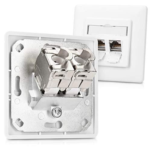 kwmobile 24x Keystone Modul für CAT 6A Kabel - 10 Gbit/s geschirmt Metall Gehäuse Schnappverschluss - werkzeugfreier Anschluss an Modular Patchpanel