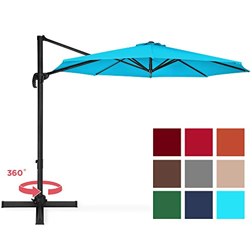 Best Choice Products 10ft 360-Degree Rotating Aluminum Polyester Cantilever Offset Market Patio Umbrella Shade w/Easy Tilt and Smooth Gliding Handle, Light Blue