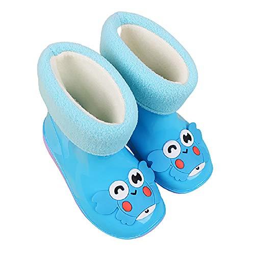 Botas De Agua Antideslizantes Impermeables para Niños Botas De Lluvia Ligeras Unisex Antideslizantes para Niños Forma De Cangrejo Pequeño Y Bonito(Color:Azul,Size:20/21 EU)