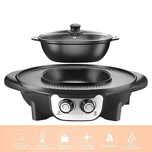 Barbecue Electrique, TOPQSC 2 en 1 Fondue Electrique Hot Pot BBQ Appareil Fondue, Barbecue électrique portable...