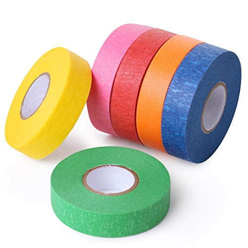 Colored Painters Tape for Arts and Crafts, 6 Pack, Drafting Tape, Craft Tape