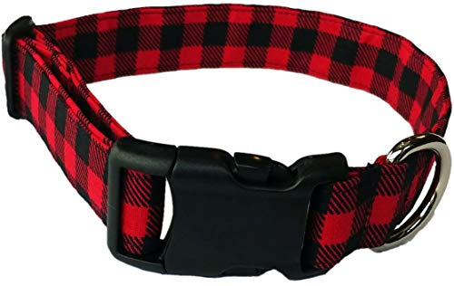 Britches4Stitches Red Buffalo Plaid Dog Collar - Puppy Black Gingham Check - Hunter Winter Fabric Checker Christmas Checkerboard Adjustable Valentine Day (S- Small Dog)