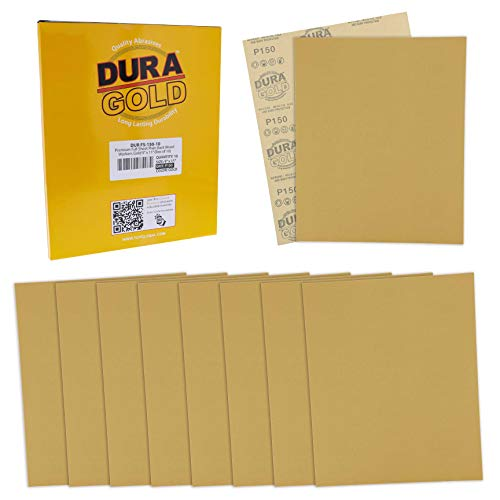 Dura-Gold Premium Sandpaper - 150 Grit - Full Size 9' x 11' Sheets, Wood Workers Gold, Plain Backing - Box of 10 Sheets - Hand Sand Block Sanding, Cut for Use On 1/4, 1/3, 1/2 Sheet Finishing Sanders