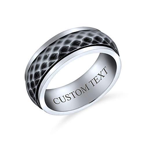 Bling Jewelry Personalizar Unisex Parejas Diamond-Cut Multi Faceted Prism Cut Alianza Fidget Spinner Anillos para Hombres Mujeres Dos Plata Tono Oxidized Inoxidable 8MM Personalizado Grabado