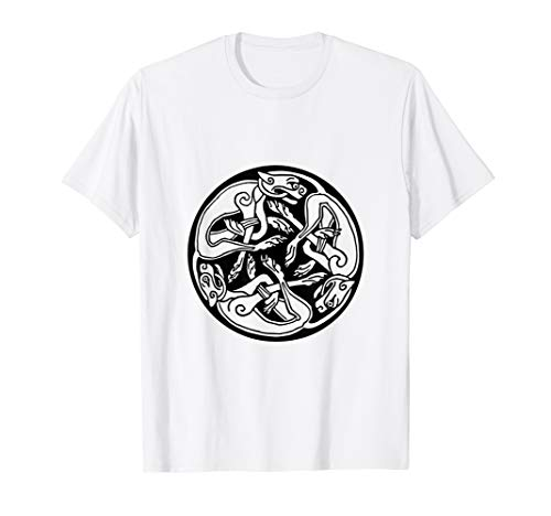 Round Celtic Dogs Design T-Shirt