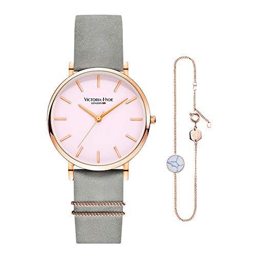 VICTORIA HYDE Damen Quartz Uhren Armreifen Set Lederband
