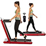 OppsDecor Under Desk Treadmill for Home Folding Electric Treadmill Walking Running Machine Pad Treadmill with Remote Control and Bluetooth Speaker Installation-Free (Red) -  Bestlucky