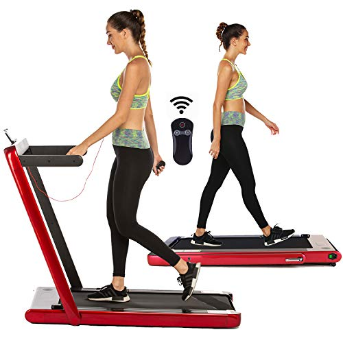 OppsDecor Under Desk Treadmill for Home Folding Electric Treadmill Walking Running Machine Pad Treadmill with Remote Control and Bluetooth Speaker Installation-Free (Red)
