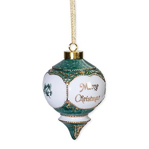 CBE Merry Christmas Gold Shamrocks Green Jewel Victorian 4.5 in. Ball Christmas Ornament