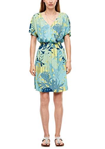 Q/S designed by - s.Oliver Damen Kleid mit Cache-Coeur-Ausschnitt turquoise AOP 42