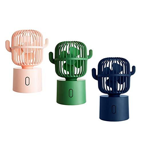 MERIGLARE Ventilador de Escritorio con Forma de Cactus Y Ventilador Giratorio USB de 3 Piezas 5 V 3,5 W