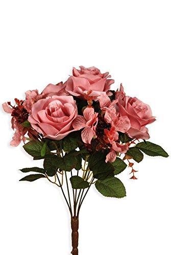Busch de Rose et Baies Fleurs Artificielles Hortensia rose