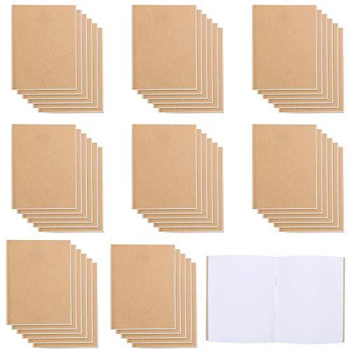 Belle Vous Libreta Notas A6 Sin Líneas 10,5 x 14 cm Cubierta Marrón Kraft Cuaderno/Diario (Pack de 48) 24 Páginas - Pack Libretas Cuadradas para Viajes y Oficina