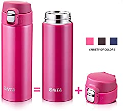 ONTA Insulated Vacuum Sports Water Bottle, 17OZ/500ML Keeps Cold 20H, Hot 12H Stainless Steel Water Bottle and Leakproof Thermos Coffee Travel Mug (Rose Pink)